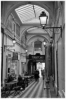 Covered passage between streets. Paris, France (black and white)
