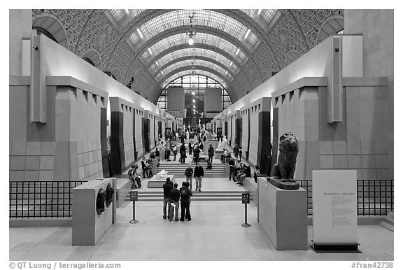 Interior of the Musee d'Orsay. Paris, France (black and white)