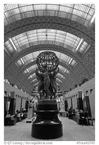Sculpture by Jean-Baptiste Carpeaux, The Four Parts of the World, in Orsay Museum. Paris, France (black and white)
