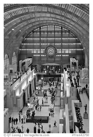 Inside of the Musee d'Orsay. Paris, France (black and white)
