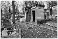 Memorials and tombs, Pere Lachaise cemetery. Paris, France (black and white)