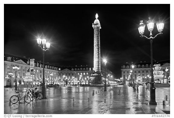 Black And White Picture Photo Place Vendome Glistening At Night Paris France