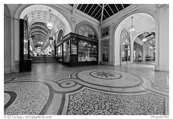 Galleries and store, passage Vivienne. Paris, France (black and white)