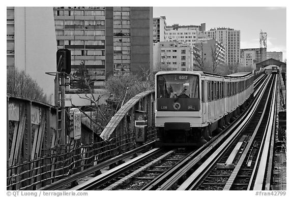 Metro on an above-ground section. Paris, France (black and white)