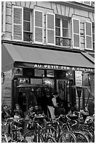 Cafe and bicycles, le Marais. Paris, France ( black and white)