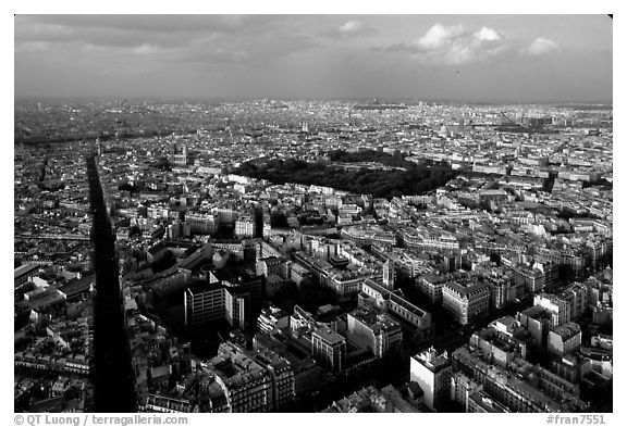 Streets and Luxembourg Garden seen from the Montparnasse Tower. Paris, France (black and white)