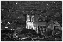 Notre Dame seen from the Montparnasse Tower, dusk. Paris, France ( black and white)