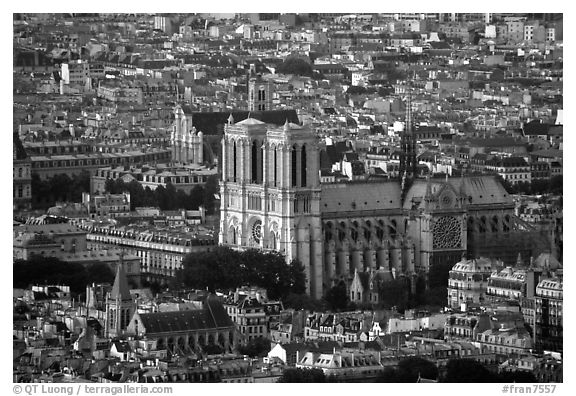 Notre Dame seen from the Montparnasse Tower, sunset. Paris, France (black and white)