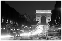 Champs Elysees and Arc de Triomphe at dusk. Paris, France (black and white)