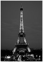 Tour Eiffel (Eiffel Tower) by night. Paris, France ( black and white)