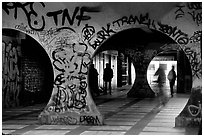 Gallery with graffiti. Paris, France ( black and white)