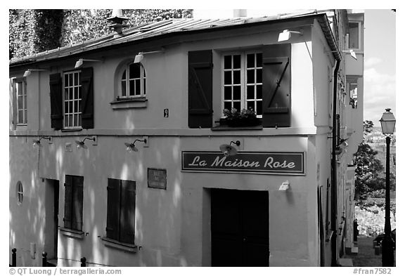 Pink house, Montmartre. Paris, France (black and white)
