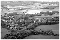 Countryside seen from the hill of Vezelay. Burgundy, France (black and white)