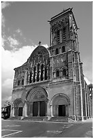 Facade of the Romanesque church of Vezelay. Burgundy, France ( black and white)
