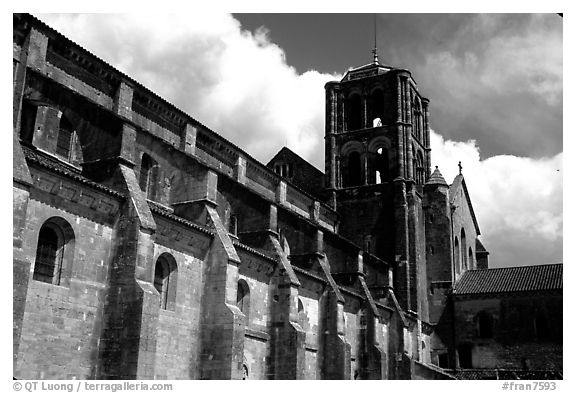 Side of the Romanesque church of Vezelay. Burgundy, France (black and white)