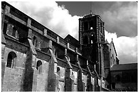 Side of the Romanesque church of Vezelay. Burgundy, France ( black and white)