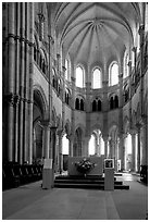Apse of the Romanesque church of Vezelay. Burgundy, France (black and white)