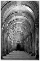 Aisle in the church of Vezelay. Burgundy, France ( black and white)