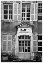 Mairie (town hall) of Vezelay. Burgundy, France ( black and white)
