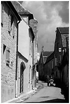 Old street in Vezelay. Burgundy, France ( black and white)
