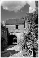 Street and old town gate, Vezelay. Burgundy, France (black and white)