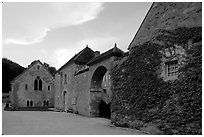 Fontenay Abbey. Burgundy, France (black and white)