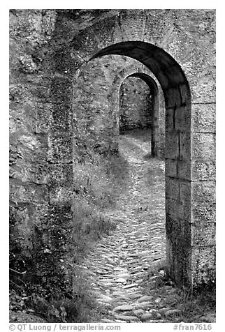 Gates inside the Sisteon Citadel. France (black and white)