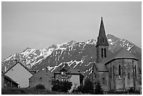 Houses and church,  Villar d'Arene, sunset. France (black and white)