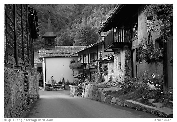 Street and church in village of Le Tour, Chamonix Valley. France (black and white)