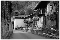 Street and church in village of Le Tour, Chamonix Valley. France ( black and white)