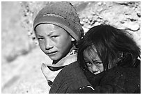 Children, Zanskar, Jammu and Kashmir. India ( black and white)
