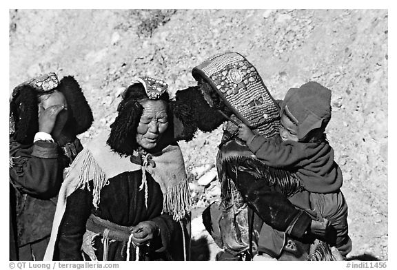 Elderly women with turquoise-covered head adornments, Zanskar, Jammu and Kashmir. India (black and white)