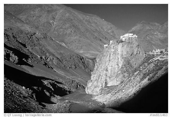Bardan monastery at the entrance of Lungnak Valley, Zanskar, Jammu and Kashmir. India (black and white)