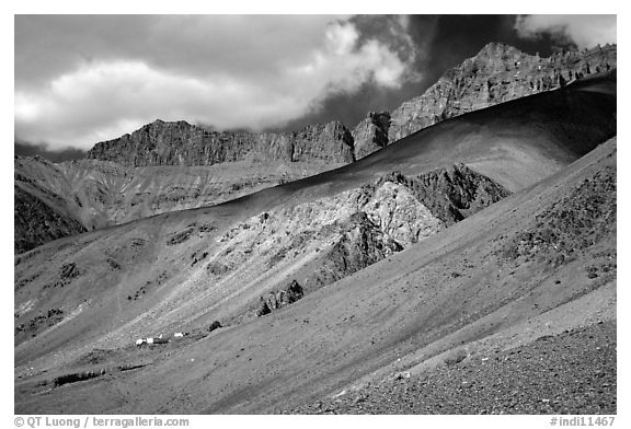 Houses lost in mineral landscape, Zanskar, Jammu and Kashmir. India (black and white)
