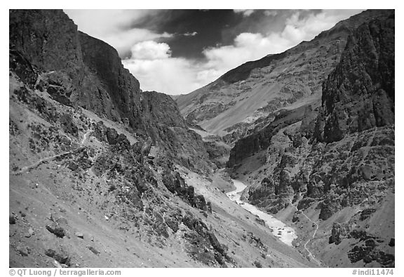 Tsarap River valley, Zanskar, Jammu and Kashmir. India (black and white)
