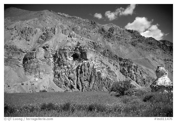 Cultivated fields, chorten, and Phuktal monastery, Zanskar, Jammu and Kashmir. India (black and white)