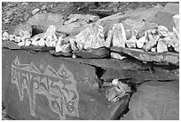 Stones and mani wall, Zanskar, Jammu and Kashmir. India ( black and white)