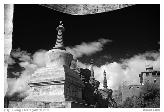 Chortens and  prayer flags, Lahul, Himachal Pradesh. India (black and white)