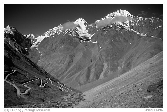 Mountainside road with hairpin turns, Himachal Pradesh. India (black and white)