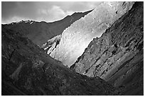Dramatic light on barren mountains, Zanskar, Jammu and Kashmir. India ( black and white)