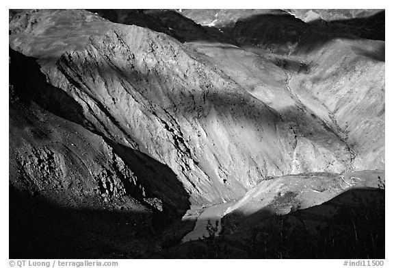 River Valley and cloud shadows, Zanskar, Jammu and Kashmir. India (black and white)