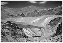 Multi colored mountains, Zanskar, Jammu and Kashmir. India ( black and white)