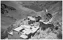 Terraced roofs of village above river valley, Zanskar, Jammu and Kashmir. India (black and white)