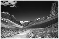 Zanskar River flanked by high cliff, Zanskar, Jammu and Kashmir. India ( black and white)