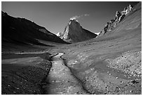 Zanskar River and  Gumburanjan monolith, Zanskar, Jammu and Kashmir. India ( black and white)