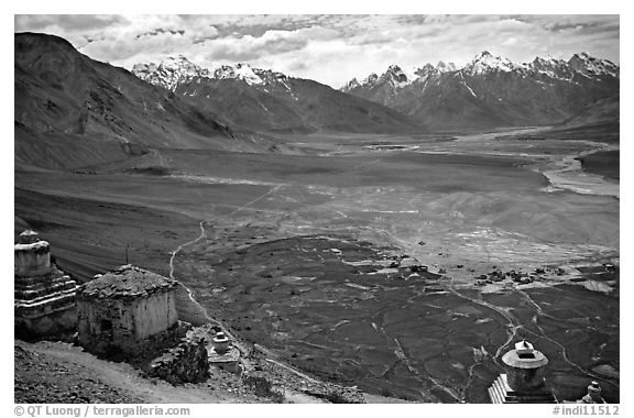Chortens overlooking cultivations in the Padum plain, Zanskar, Jammu and Kashmir. India (black and white)
