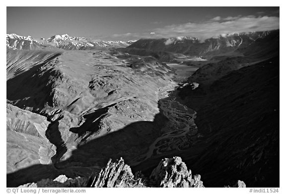 Braided river and mountain range seen from high pass, Himachal Pradesh. India (black and white)