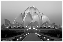 Lotus-shaped Bahai temple at twilight. New Delhi, India (black and white)