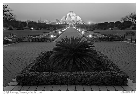 Gardens and  Bahai temple at twilight. New Delhi, India (black and white)