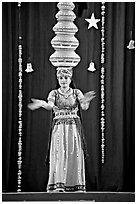 Rajasthani dancer with balanced jars. New Delhi, India ( black and white)